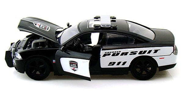 1/24 Scale 2011 Black & White Dodge Charger Pursuit Police Car Diecast Model