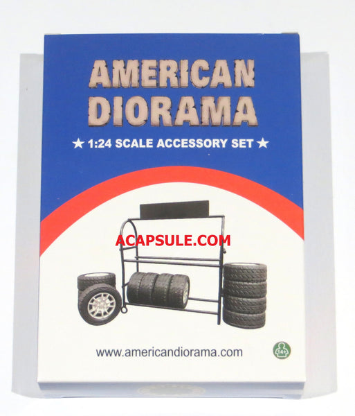 American Diorama 1/24 Scale Metal Tire Rack with 12 Tires