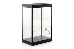 Large LED Light Display Case with 2 Adjustable Shelves (Black) Ideal for 1/24 Scale Cars