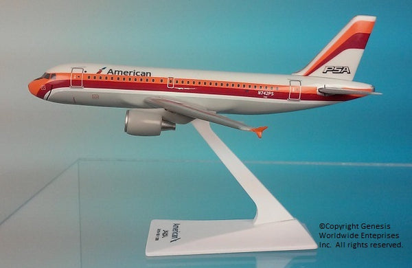 Flight Miniatures American Airlines PSA Heritage Livery Airbus A319 1/200 Scale Model with Stand