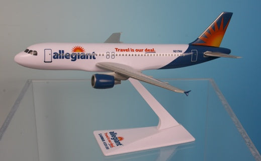 Flight Miniatures Allegiant Air Airbus A320-200 Travel is our deal Livery N217NV 1/200 Scale Model with Stand
