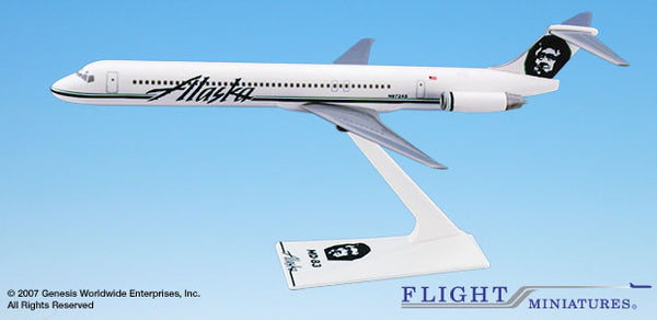 Flight Miniatures Alaska Airlines MD-83 1/200 Scale Model with Stand