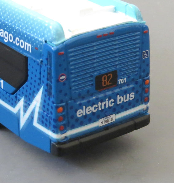 Chicago CTA Route 82 1/87 Scale New Flyer Xcelsior Charge Model Bus in Blue Electric Livery