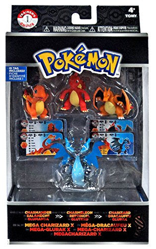 Pokemon Trainer's Choice 4 Pack Charmander, Charmeleon, Charizard & Mega Charizard X Figures
