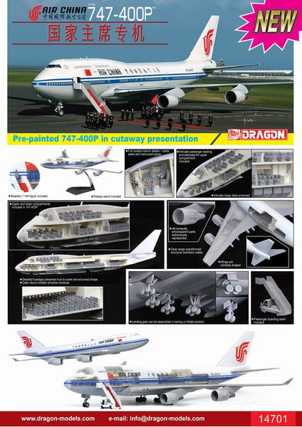 Dragon Air China 747-400P with Cutaway Views 1/144 Model Kit