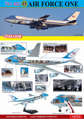 Dragon Air Force One 747 (VC-25A) with Cutaway Views 1/144 Model Kit