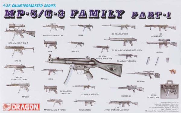 Dragon Quartermaster Series MP-5 / G-3 Family Weapons Model Kit 1/35 Scale