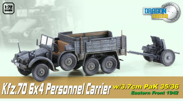 Dragon Armor Kfz.70 6x4 Personnel Carrier w/ 3.7 cm PaK 35/36 1/72 Scale Model