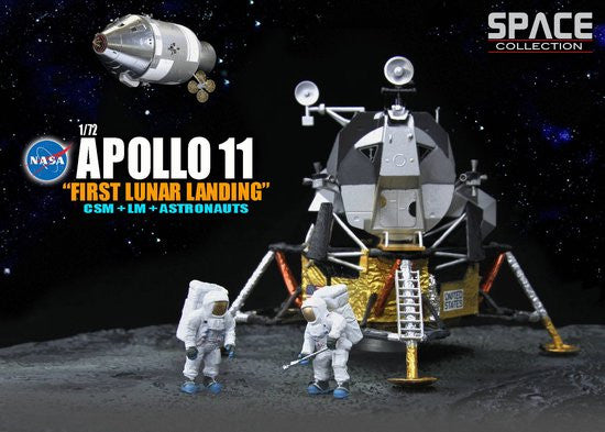 Apollo 11 Lunar Landing with CSM, LM, Stand, and Astronauts 1/72 Scale