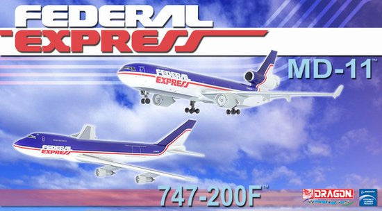 Federal Express 747-200F & MD-11F (2 aircraft model set) with Stand and Gears