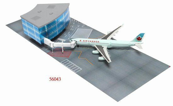 Air Canada Airbus A340-300 1/400 Scale Plane with Curved Terminal Building