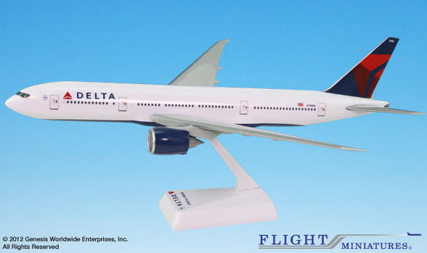 Flight Miniatures Delta Airlines Boeing 777-200LR 1/200 Scale Model with Stand N710DN