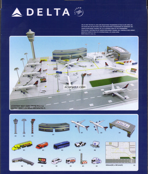 Delta Airlines Airport Playset with Planes Mat Buildings and Vehicles