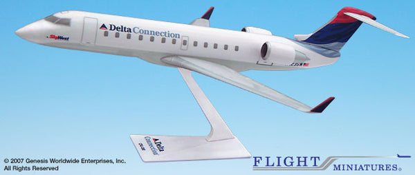 Flight Miniatures Delta Connection Skywest CRJ200 1/100 Scale Model with Stand
