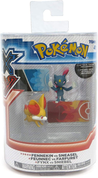 Tomy Pokemon X & Y Fennekin vs Sneasel 2 pack Small Figures