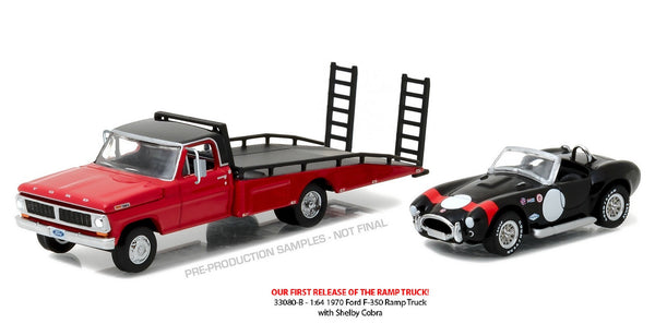 Ford F-350 Ramp Truck with 1965 Shelby Cobra 427 S/C 1/64 Scale Diecast Model