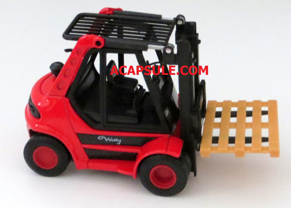 Red Diecast Forklift with Pullback Action 5.5 Inches Long