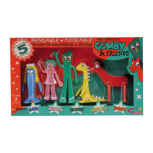 The Original Gumby and Friends Bendable Poseable 5-Piece Boxed Set
