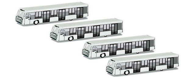 Herpa Airport Accessories 4 (Four) Airport Buses 1/500
