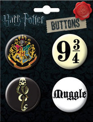 Harry Potter Fan Favorites 4 Button Set (Made in USA)