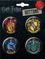 Harry Potter Crests 4 Button Set (Made in USA)
