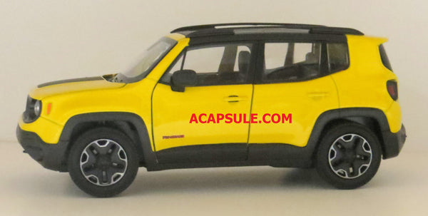 Yellow Jeep Renegade Trailhawk 1/24 Scale Diecast Model Car