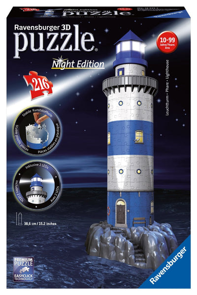 Lighthouse Night Edition 3D Puzzle, 216 Pieces