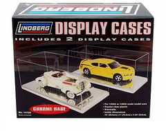 Lindberg Two Clear Display Cases with Chrome Base 1/24 or 1/25 Scale Cars