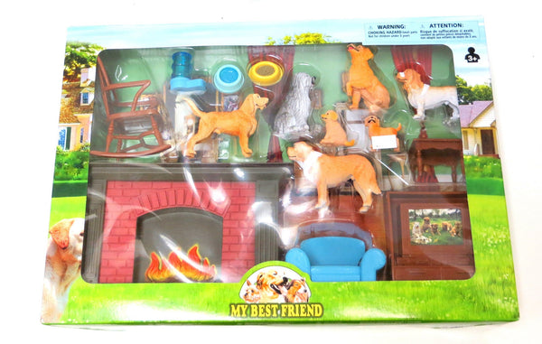 My Best Friend Dog Figures with Living Room Accessory Playset