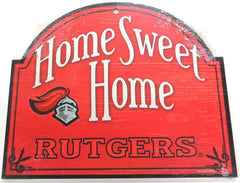 "Rutgers Home Sweet Home Arched Wood Sign 10"" x 11"""