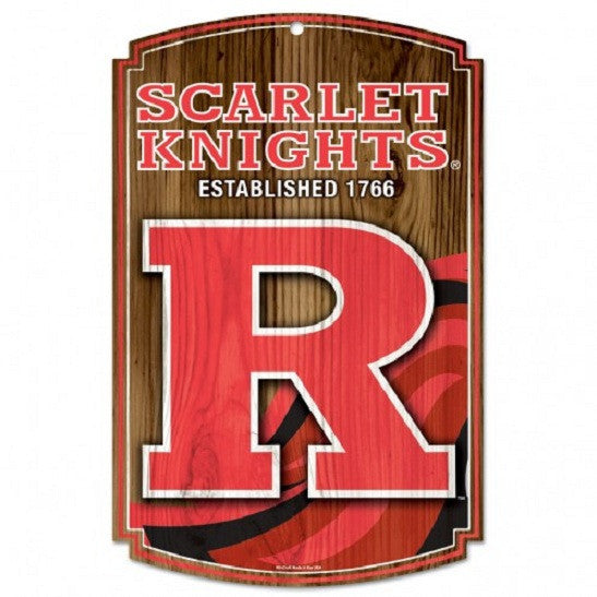 "Rutgers Scarlet Knights Established 1766 Wood Sign 11"" x 17"""
