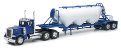 1/32 Scale Blue Peterbilt 379 Pneumatic Trailer Model