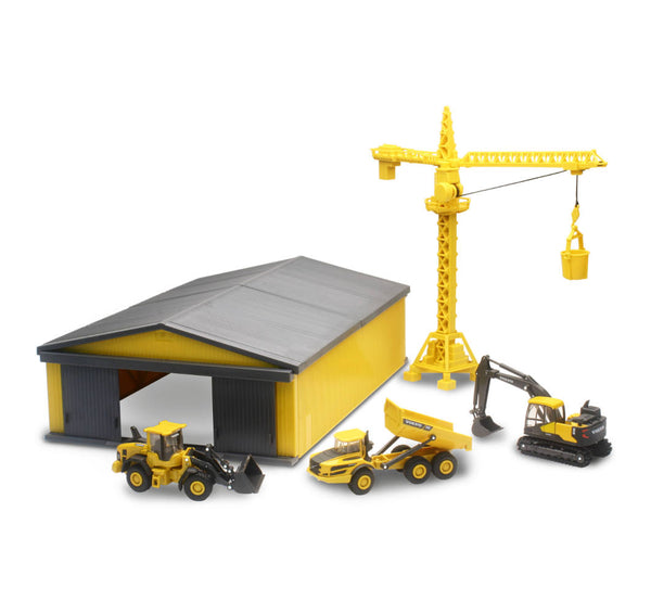Diecast Volvo Construction Vehicles with Crane and Machine Shed Playset