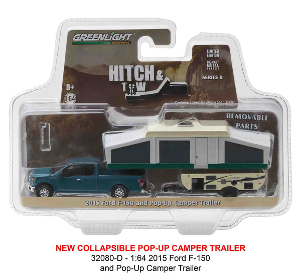 Greenlight Hitch and Tow Series 8 2015 Ford F-150 and Pop-Up Camper Trailer 1/64 Diecast Model