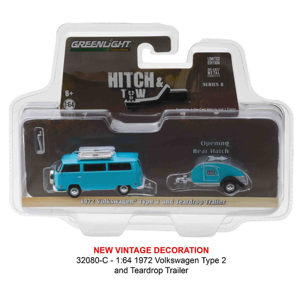 Greenlight Hitch and Tow Series 8 1972 Volkswagen Type 2 Van and Teardrop Trailer 1/64 Diecast Model