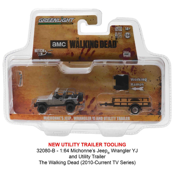 The Walking Dead Michonne's Jeep Wrangler and Utility Trailer 1/64 Diecast Model