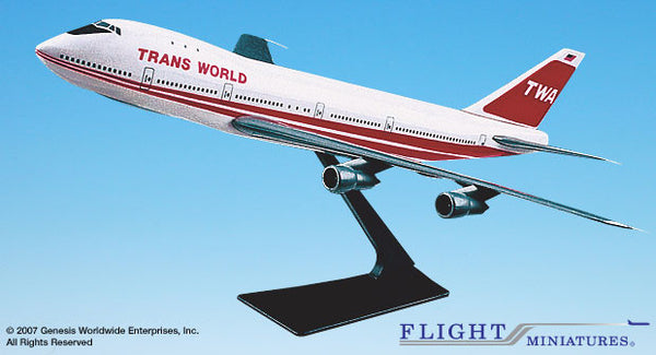 Flight Miniatures TWA '74-95 Boeing 747-100 1/250 Scale Model with Stand