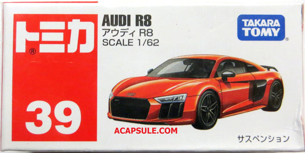 Tomica #39 Audi R8 1/62 Diecast Car by Takara Tomy  (Ships Free)
