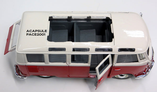 "1/25 Scale White Red Volkswagen Van ""Samba"" Bus Diecast Model"