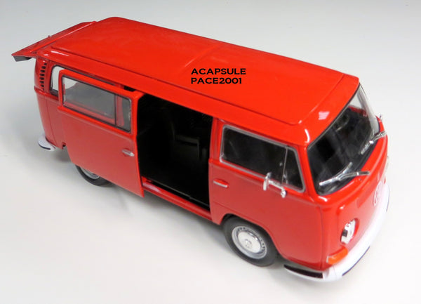 1/24 Scale Red 1972 Volkswagen Bus T-2 Diecast Model