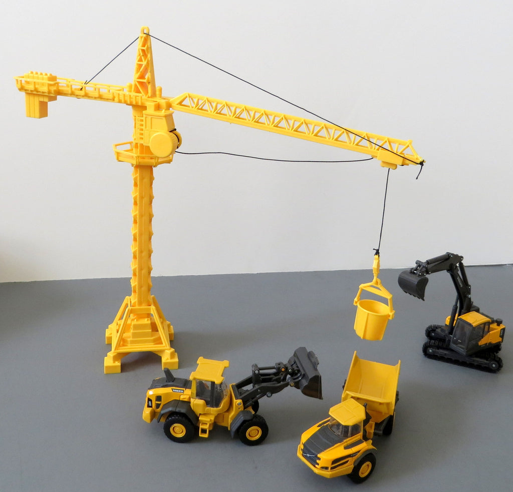 Diecast Volvo Construction Vehicles with Crane and Machine