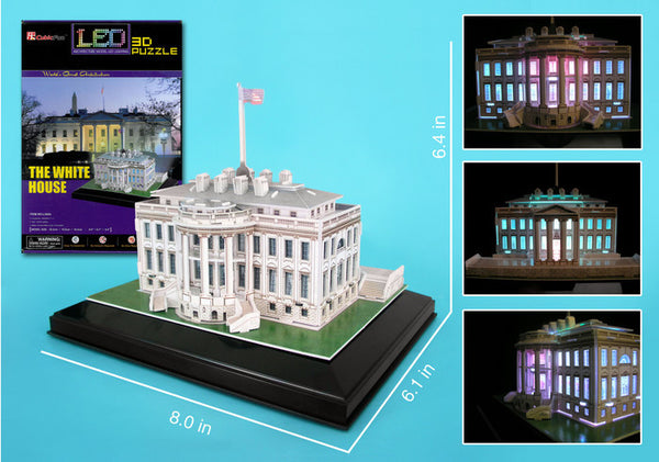 White House 3D Puzzle With Base & Lights 56 Pieces