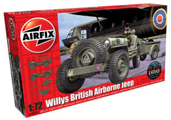 British Airborne Willys Jeep Kit 1/72 Model Kit (includes Jeep, Trailer and Howitzer)
