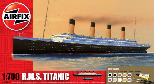 RMS Titanic 1/700 Scale Model Kit Gift Set (Comes with Paint, Brushes and Glue)