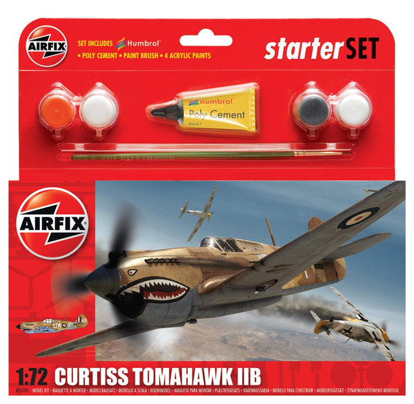 Curtiss Tomahawk IIB Starter Set 1:72 Scale (Comes with Paint, Brushes and Glue)