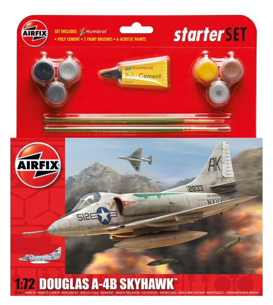 Douglas A4-B Skyhawk Starter Set 1:72 (Comes with Paint, Brushes and Glue)