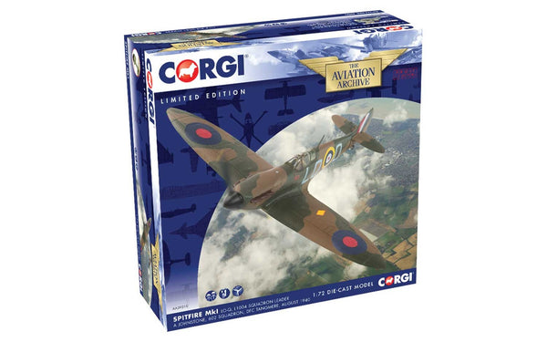 Corgi MK1 Spitfire L1004 Squadron Leader A Johnstone 602 Squadron 1/72 Scale Diecast Model with Stand