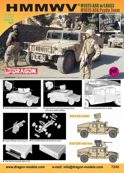 Dragon 1/72 Humvee M1025 ASK LRAS3 & 1/72 Humvee M1025 Loudspeaker (Twin Pack)