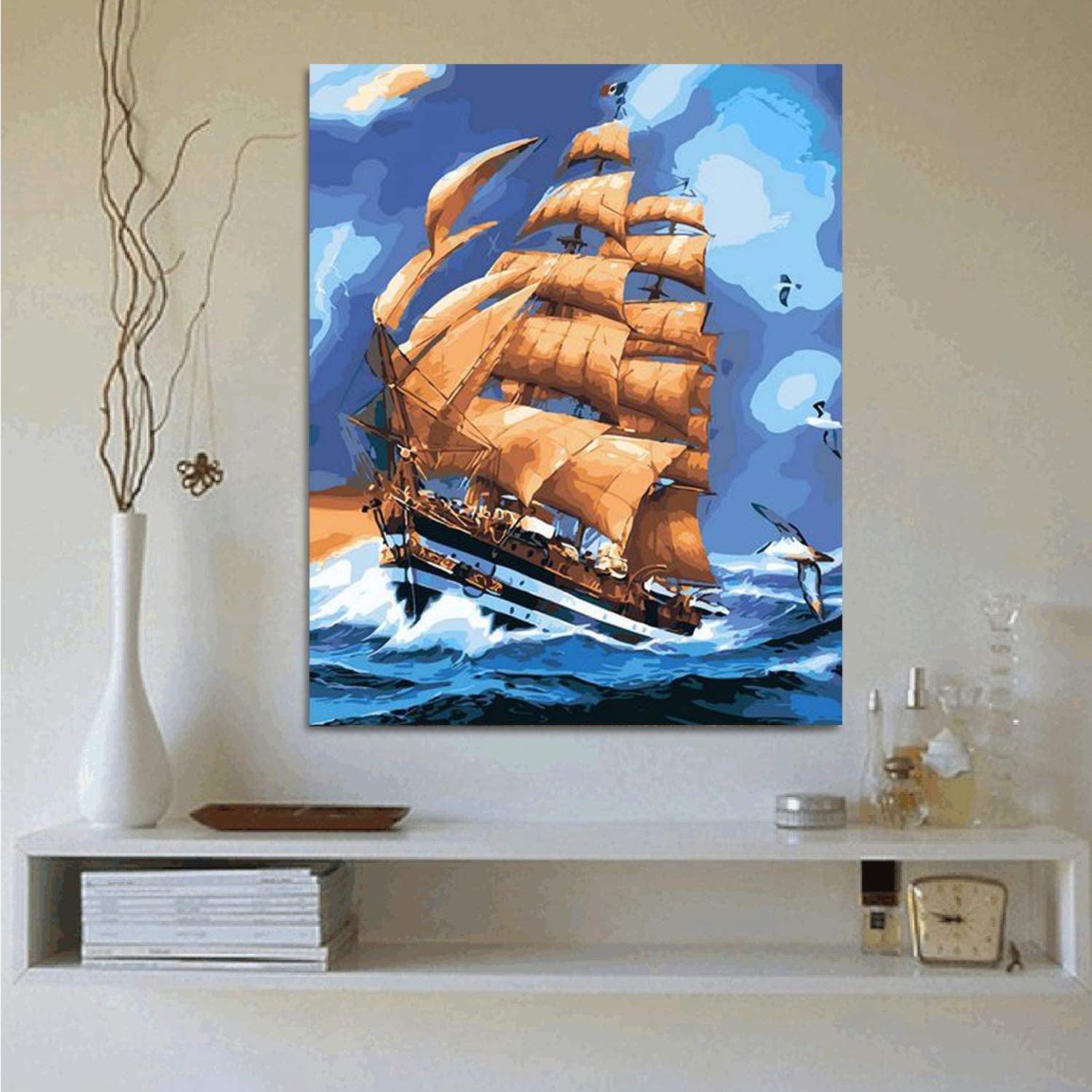 Tungsang Frame Paint by Numbers DIY Oil Paint Works Paint by Number for Kids 16X12 inch Painting on Canvas with Frame Gift Idea for Xmas Panter
