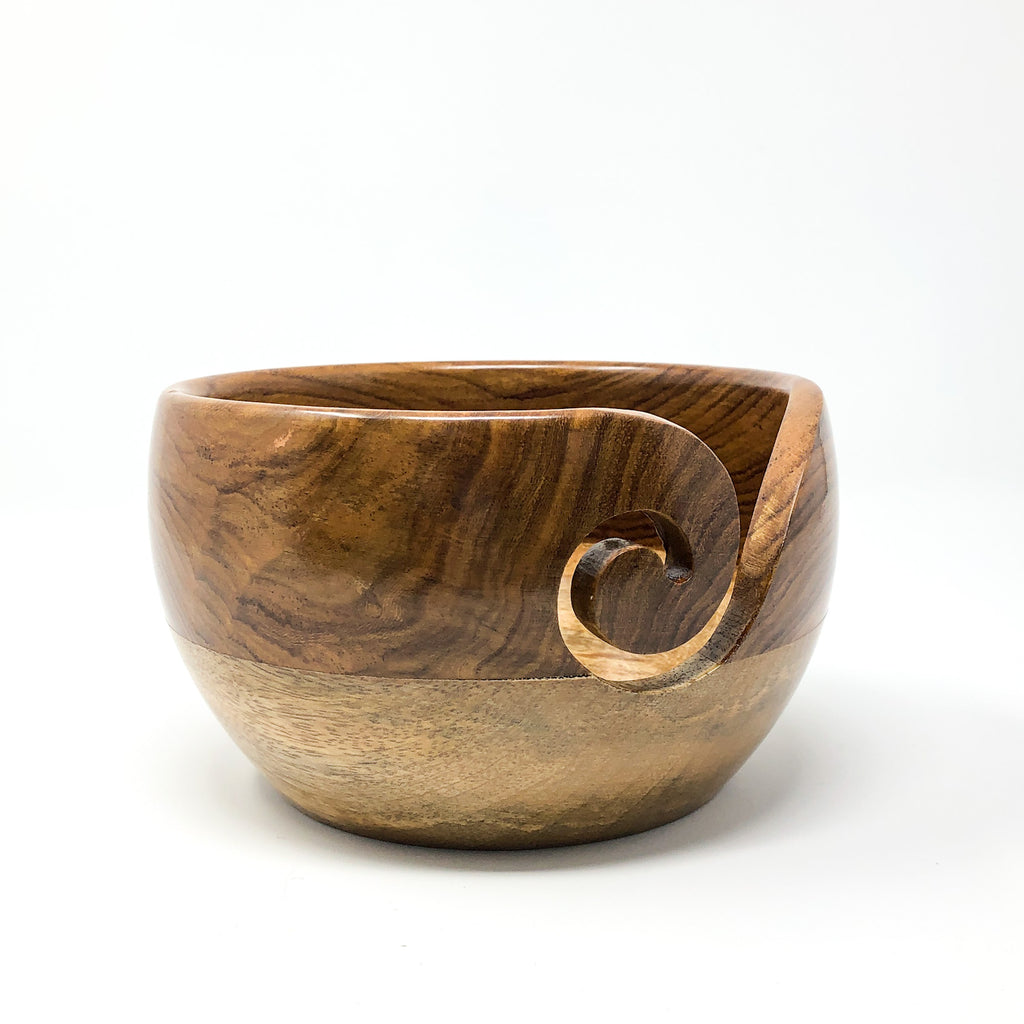 Two Tone Rosewood/Mango Wood Yarn Bowl